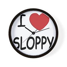 I heart SLOPPY Wall Clock