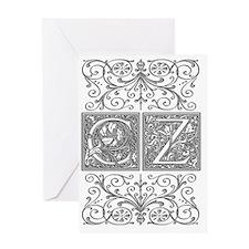 CZ, initials, Greeting Card