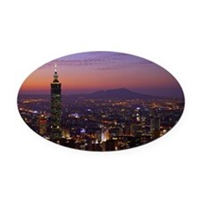 A beautiful overview to Taipei cit Oval Car Magnet