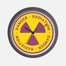 Radiation Warning Symbol Wall Clock