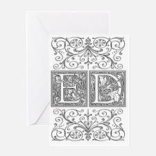 ED, initials, Greeting Card