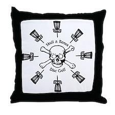Skull and Bones Disc Golf Sun of Bask Throw Pillow