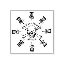 "Skull and Bones Disc Golf S Square Sticker 3"" x 3"""