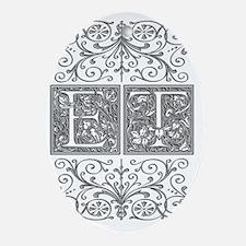 ET, initials, Oval Ornament