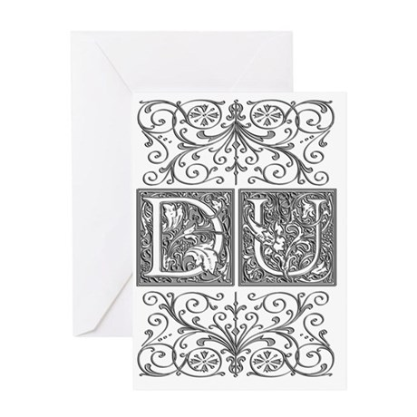 DU, initials, Greeting Card