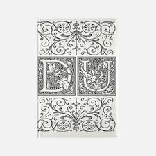DU, initials, Rectangle Magnet