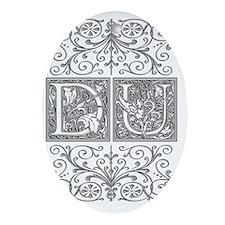 DU, initials, Oval Ornament