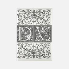 DV, initials, Rectangle Magnet