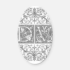 DV, initials, Oval Car Magnet