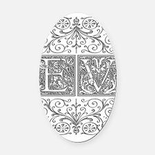 EV, initials, Oval Car Magnet