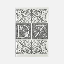 DZ, initials, Rectangle Magnet