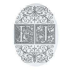 FJ, initials, Oval Ornament
