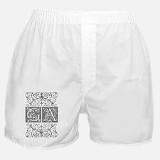GA, initials, Boxer Shorts