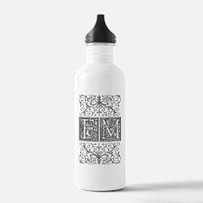FM, initials, Water Bottle