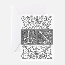 IN, initials, Greeting Card