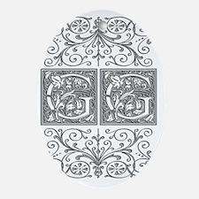 GG, initials, Oval Ornament