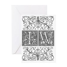 IW, initials, Greeting Card