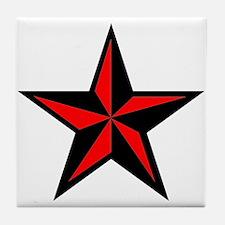 Punk Rock Red Nauticle Star Tile Coaster