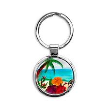 Tropical Floral Beach Round Keychain
