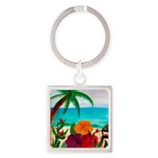 Tropical Floral Beach Square Keychain