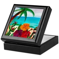 Tropical Floral Beach Keepsake Box