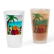 Tropical Floral Beach Drinking Glass