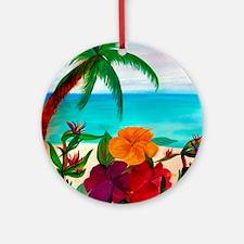 Tropical Floral Beach Round Ornament