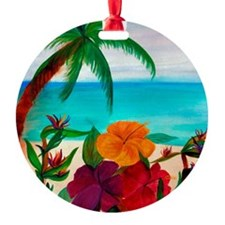 Tropical Floral Beach Ornament