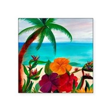 "Tropical Floral Beach Square Sticker 3"" x 3"""