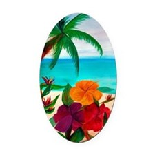 Tropical Floral Beach Oval Car Magnet