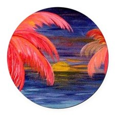 Pink Palms Round Car Magnet