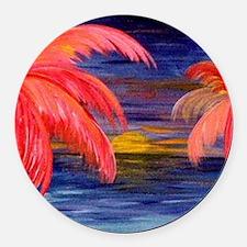 Pink Palms Round Car Magnet