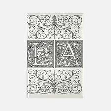 LA, initials, Rectangle Magnet
