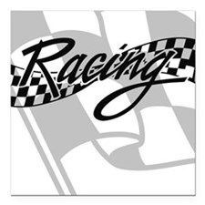"Racing Flag Square Car Magnet 3"" x 3"""