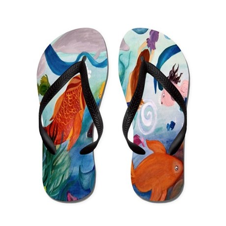 Tropical Fish and Mermaid Party Flip Flops
