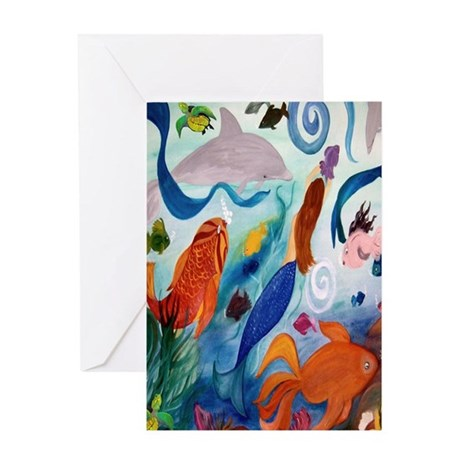 Tropical Fish and Mermaid Party Greeting Card