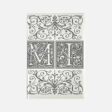 MI, initials, Rectangle Magnet