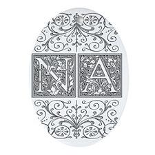 NA, initials, Oval Ornament
