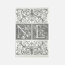 NE, initials, Rectangle Magnet