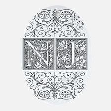 NJ, initials, Oval Ornament