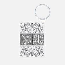 NJ, initials, Keychains