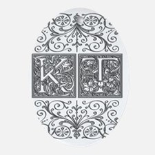 KT, initials, Oval Ornament