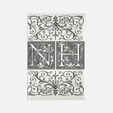NH, initials, Rectangle Magnet