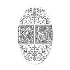 KU, initials, Oval Car Magnet