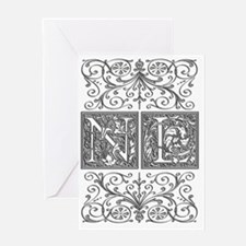 NL, initials, Greeting Card