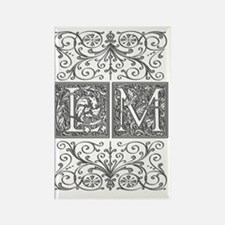 LM, initials, Rectangle Magnet