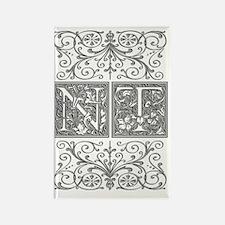 NT, initials, Rectangle Magnet