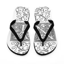NY, initials, Flip Flops