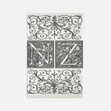 NZ, initials, Rectangle Magnet