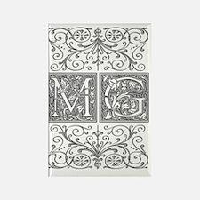 MG, initials, Rectangle Magnet